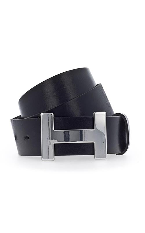 Leather Belt with H Silver Buckle Vanzetti