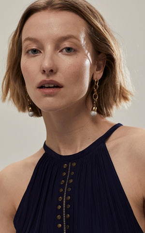 Chain Matte Pearl Drop Earring Michelle Ross