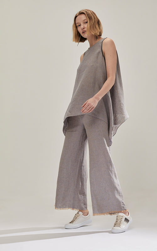 Linen Pull On Wide Leg Pant Fabiana Filippi
