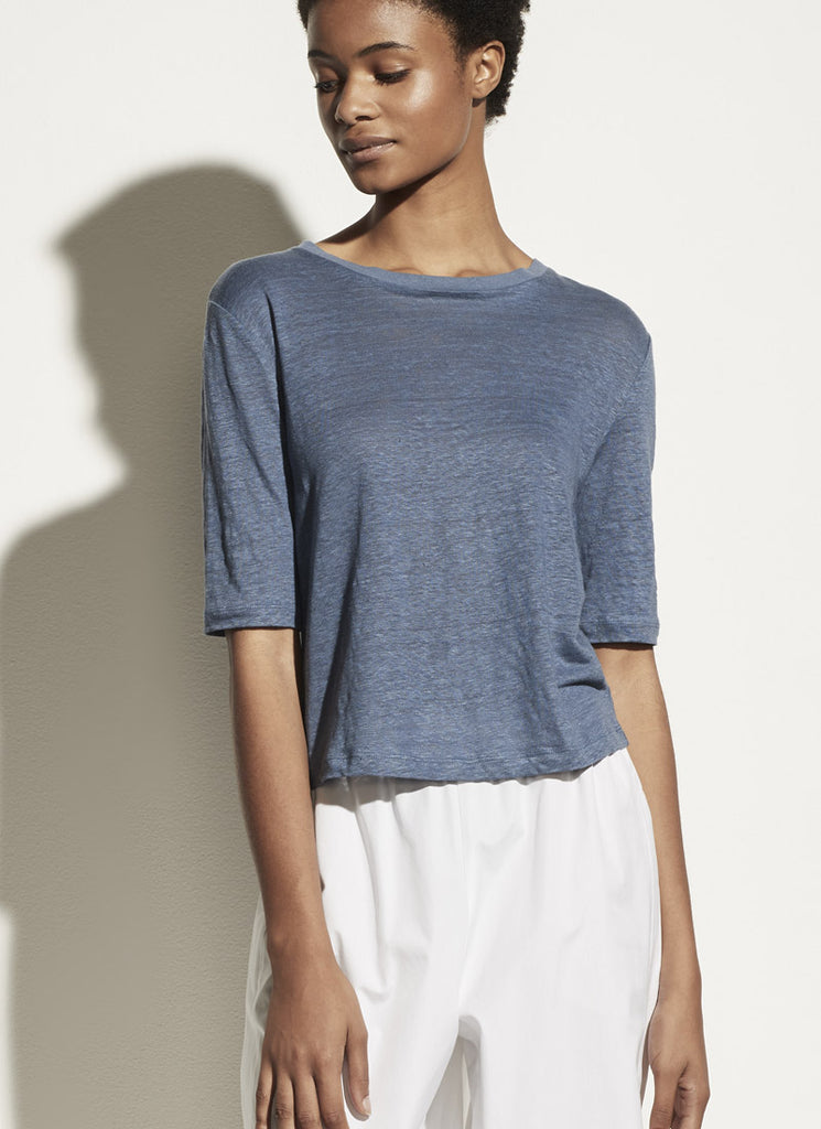 Vince Linen Relaxed Elbow Sleeve Crewneck T-Shirt