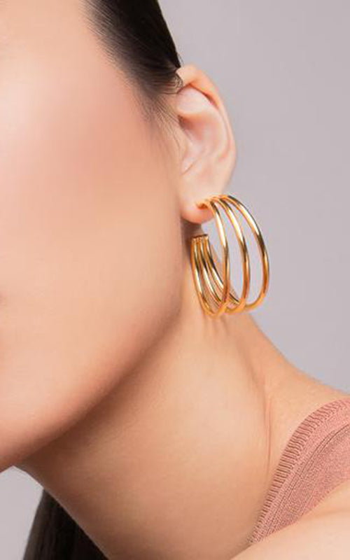 Genesis Hoop Earrings - Gold Biko