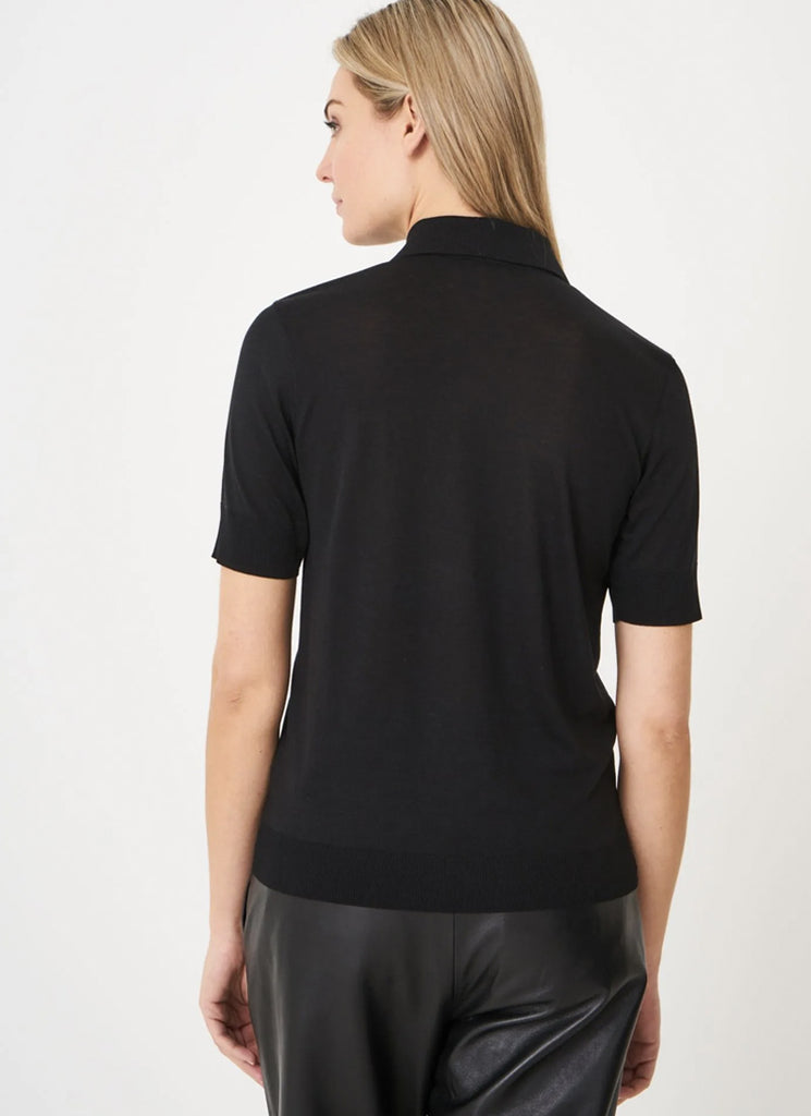 Repeat Black Cotton-Blend Polo T-Shirt