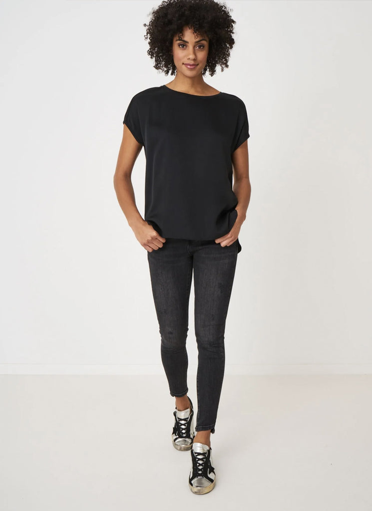 Repeat Black Linen and Silk-Blend Short Sleeve Top