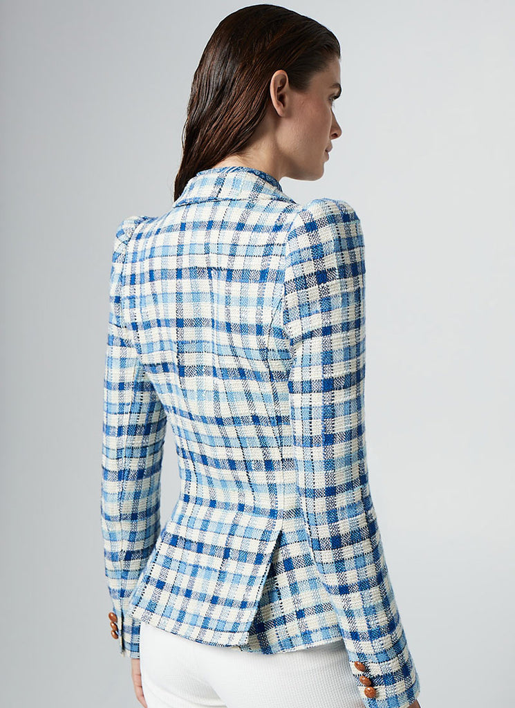 Smythe Pouf Sleeve Blue Check One Button Blazer