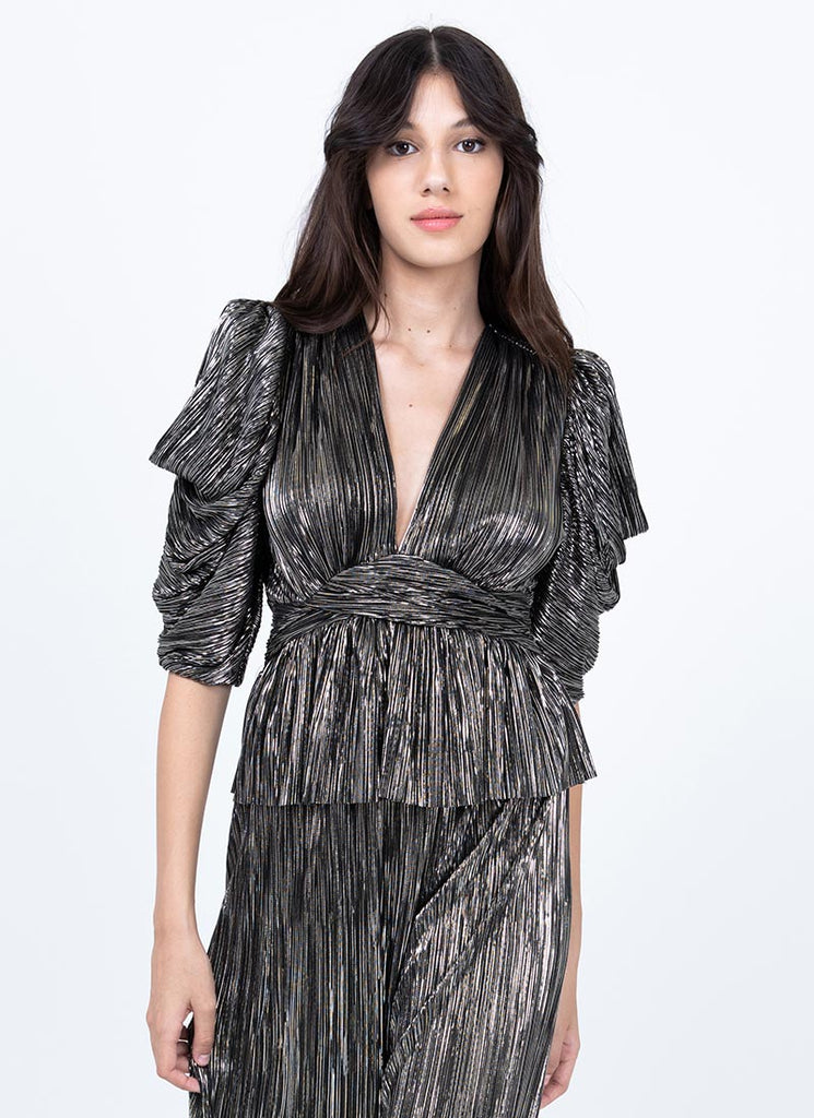 Sabina Musayev Brandy Pleated Knit Foil Top