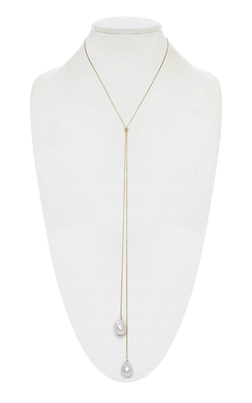 White Baroque Pearl Chain Necklace Margo Morrison