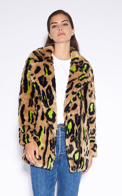 Chloe Neon Leopard Coat Apparis