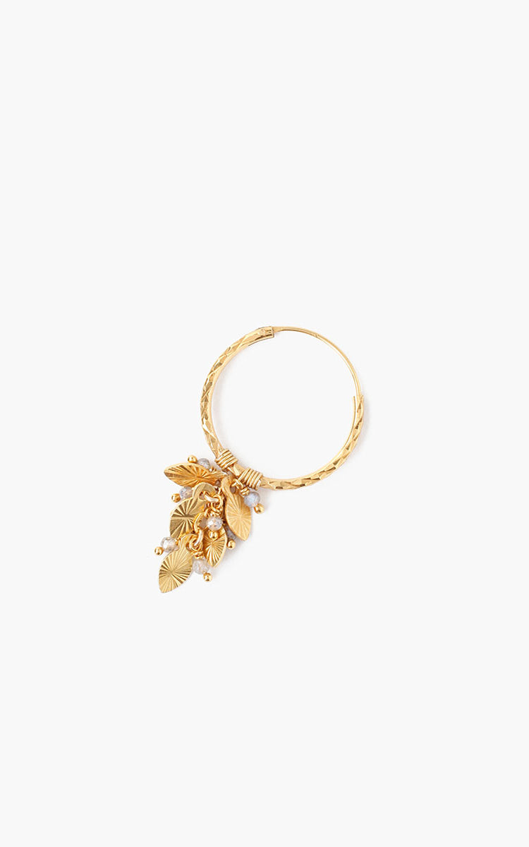 Leaf Charm Hoop Earrings Chan Luu