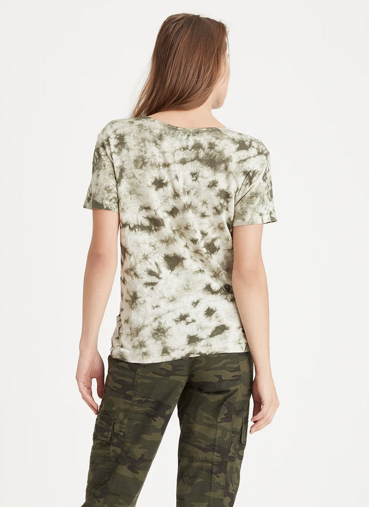 Sanctuary Good Vibes Green Tie-Dye Henley Tee