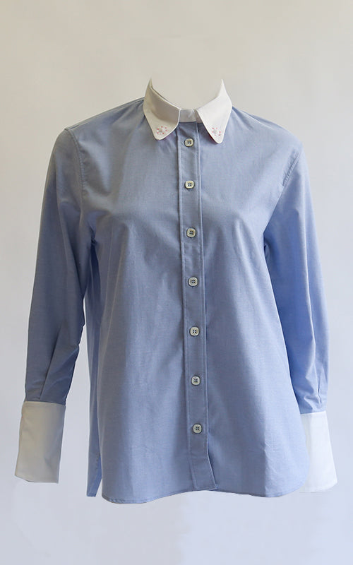 Button Up Shirt with Contrast Collar