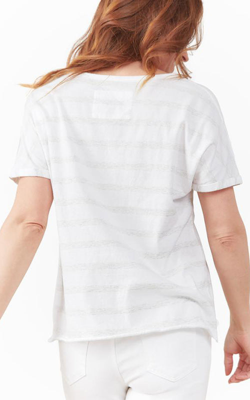 Stripe Deep V Neck Tee Frank & Eileen Tee Lab