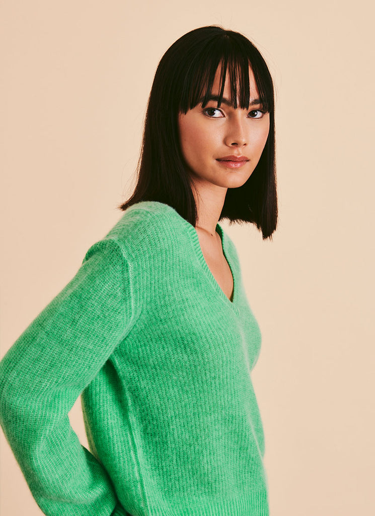 Line Nala Green V Neck Cashmere Sweater