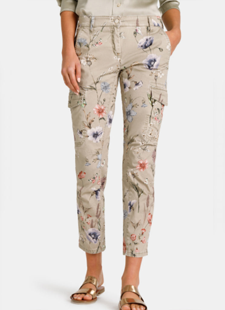 Cambio Lotta Floral Print Cargo Pant