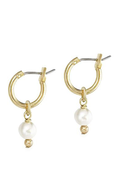 2-in-1 Mini Pearl Loop Earrings - Gold Biko