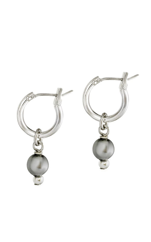 2-in-1 Mini Pearl Loop Earrings - Silver Biko
