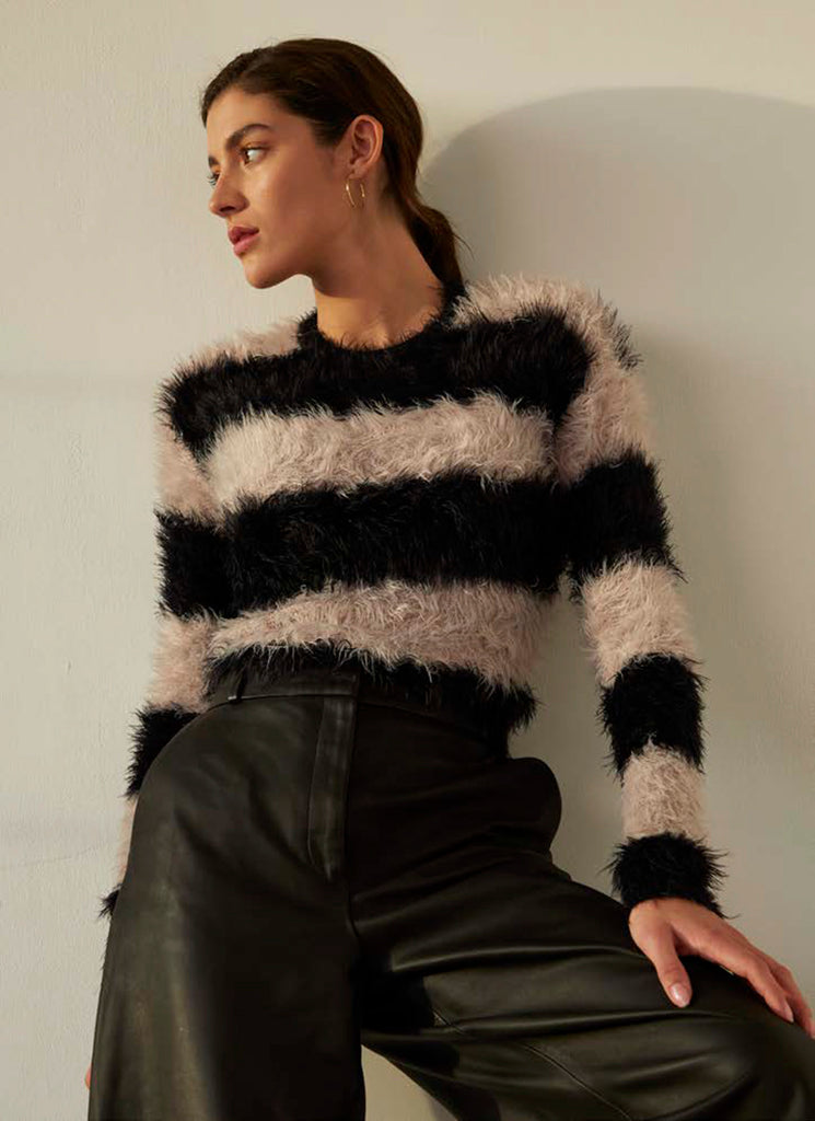 Fluffy Stripe Crew Autumn Cashmere