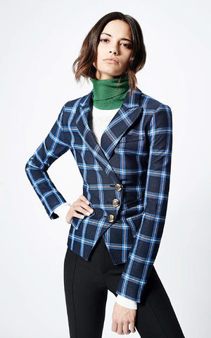 Windowpane Wrap Blazer Smythe