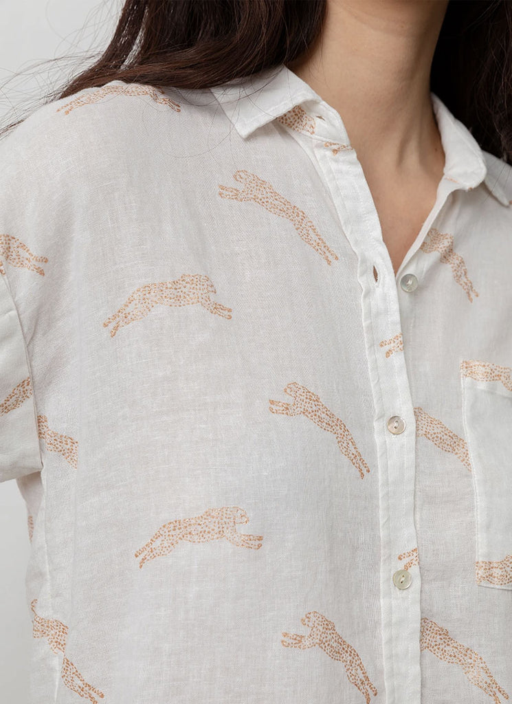 Rails Whitney Linen Cheetah Button Down