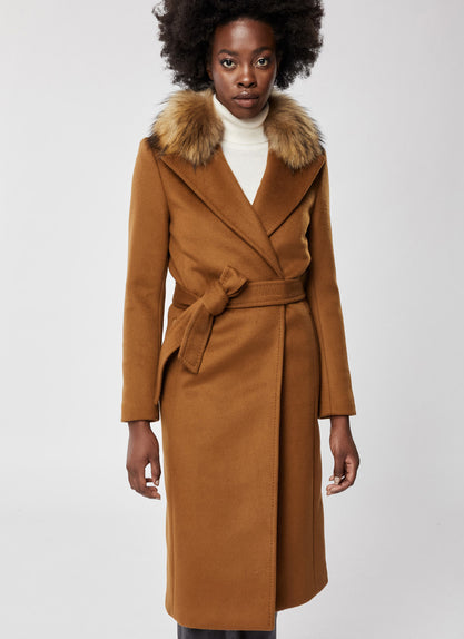 Sienna Notched Belted Wool Coat Mackage