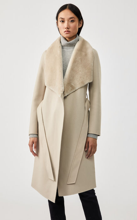 Sybil Shearling Collar Wrap Coat Mackage