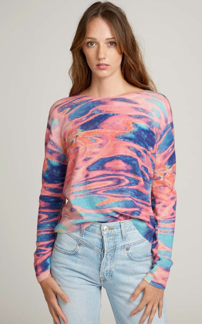 Water Colour Tie Dye Crew Autumn Cashmere