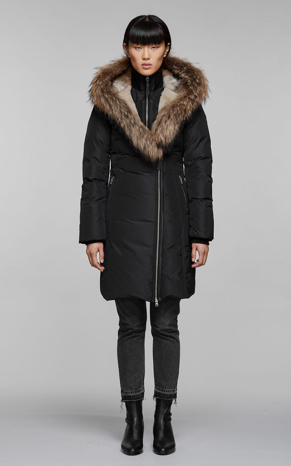TRISH Down Coat with Fur Hood