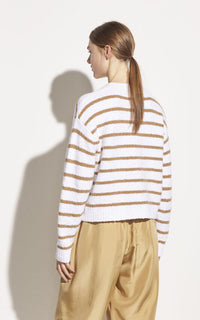 Stripe Cotton Boucle Crew Vince