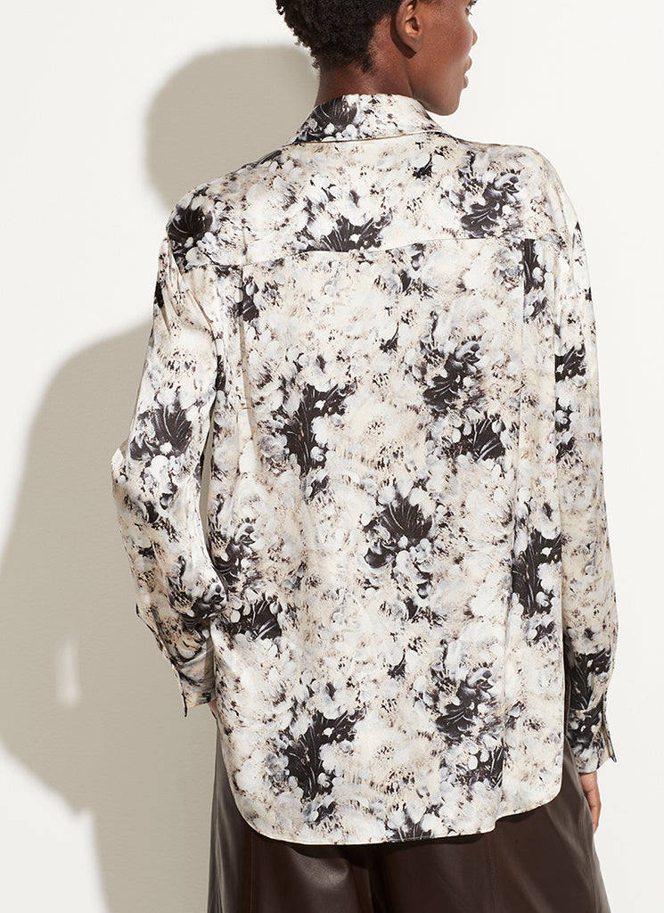 Painted Crema Shaped Collar Blouse Vince