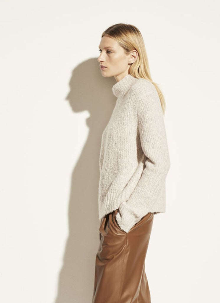 Textured Funnel-Neck Pullover