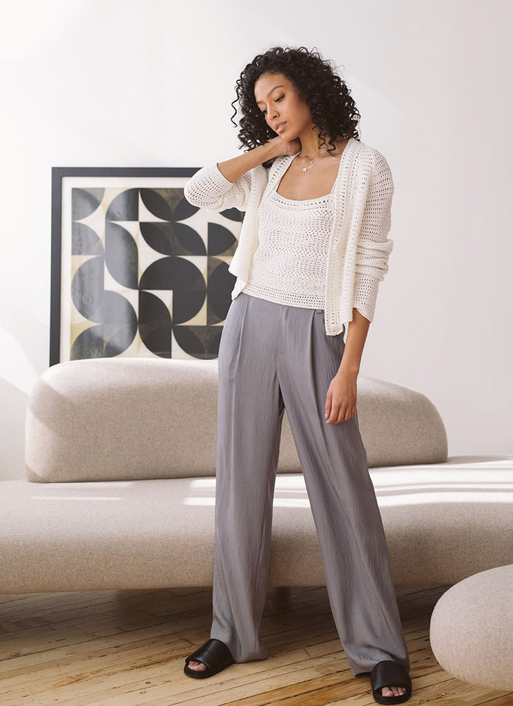 Vince Steel Wide Leg Pull-On Pant