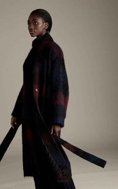 Brushed Plaid Long Coat