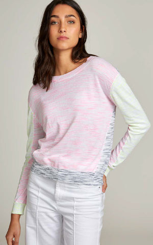 Autumn Cashmere Space Dye Colour Block Crew