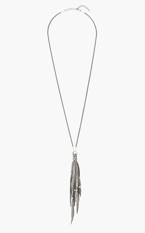 Pewter Leather Tassel Necklace