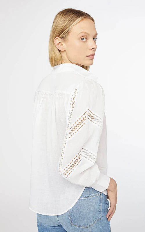 Frame Panel Lace Button Up Blouse