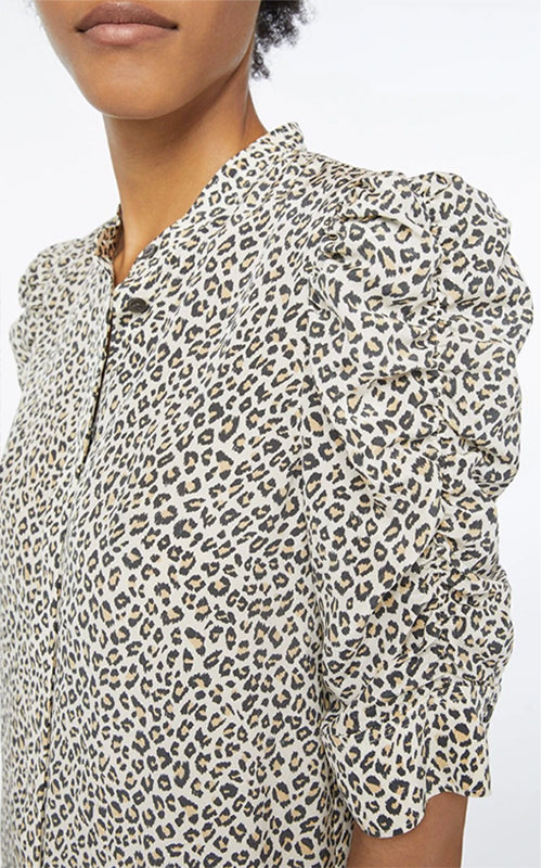 Shirred Sleeve Animal Blouse Frame