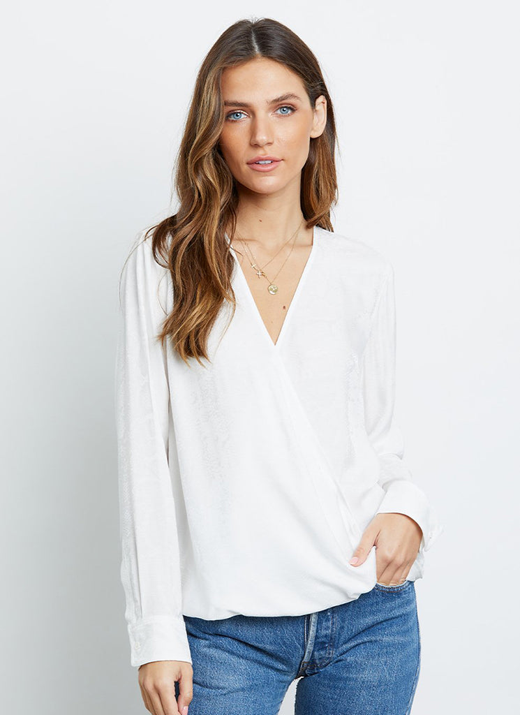 Hillary Long-Sleeve Ivory Wrap Rails