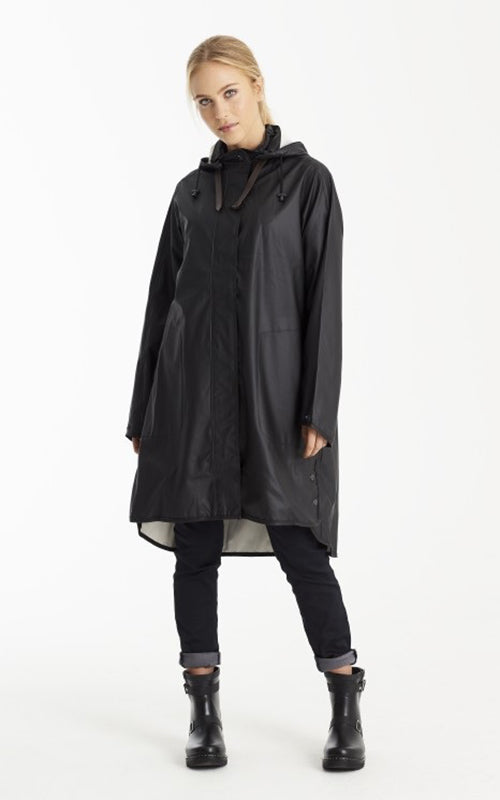 Ilse Jacobsen Removable Hood Raincoat - Black