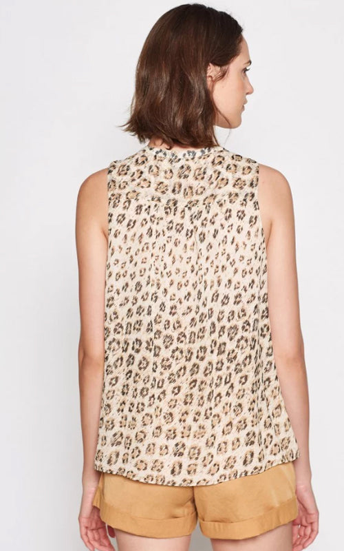 Animal Print Sleevless Corie Silk Top by Joie