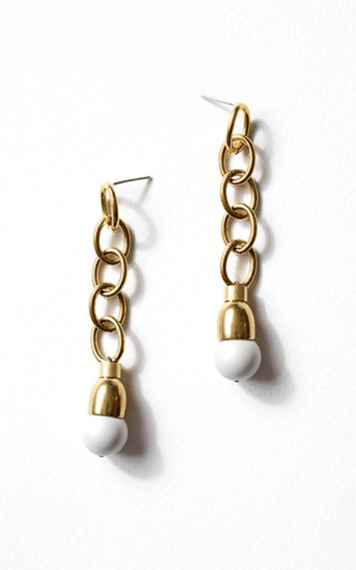 Michelle Ross Chain Matte Pearl Drop Earring