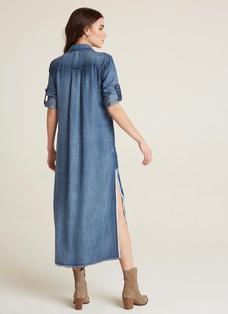 Bella Dahl Denim Frayed Duster