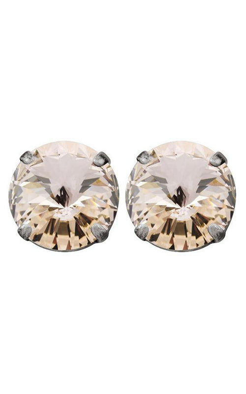 Rivoli Stud Silver Earrings