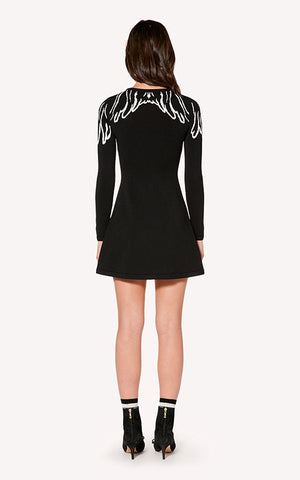 Wing Shoulder Knit Dress Red Valentino