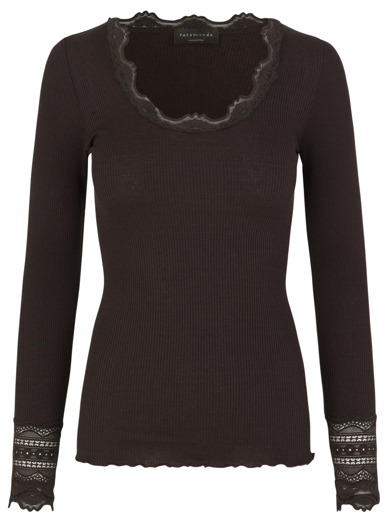 Ribbed Lace Neckline & Cuff Tee Rosemunde