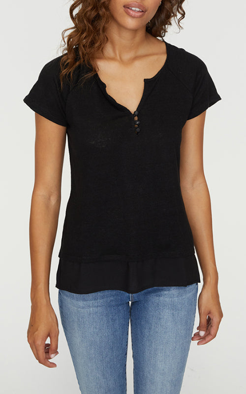 Sanctuary Flirt Mix Henley - Black