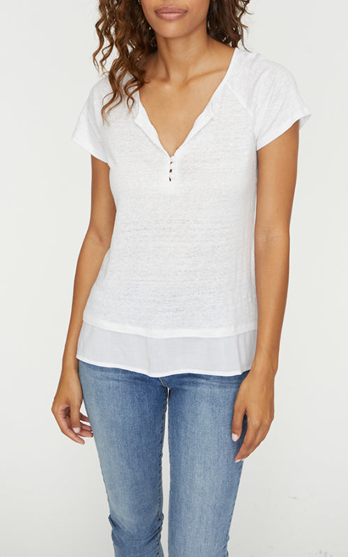 Sanctuary Flirt Mix Henley - White