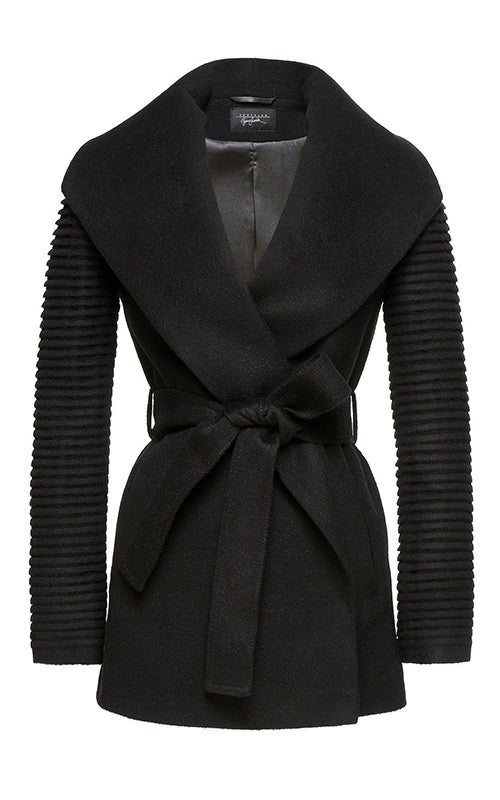 3/4 Wrap Coat with Ribbed Sleeves Sentaler