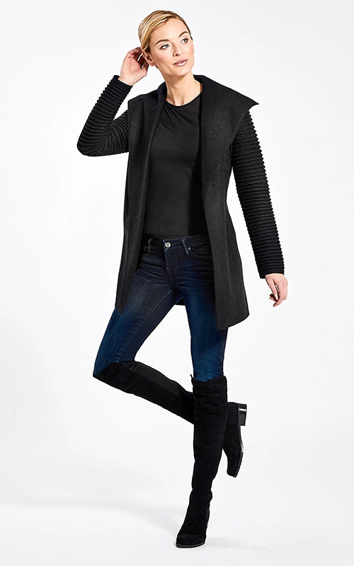 Sentaler Wrap Coat With Ribbed Sleeves - Black