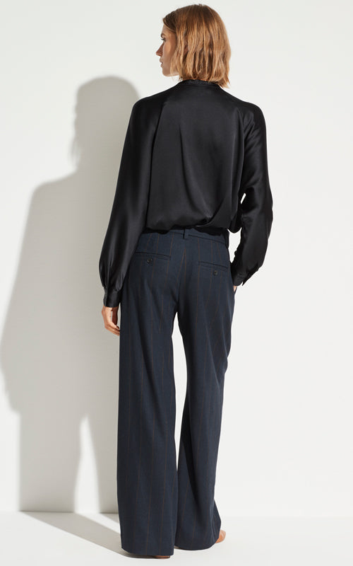 Belted Pinstripe Wide Leg Pant
