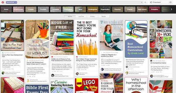 Pinterest Homeschool Search