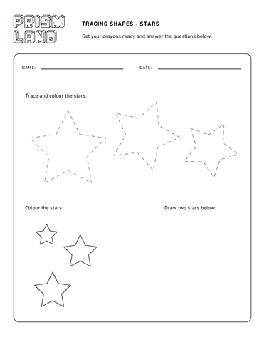 Tracing Shapes - Stars and Hearts - Prismland